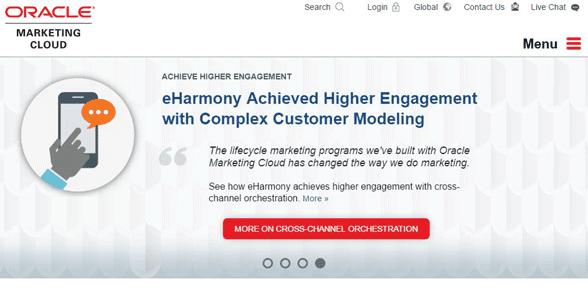 Screenshot of Oracle Marketing Cloud's homepage