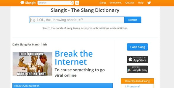 Screenshot of Slangit's homepage