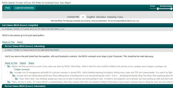 Screenshot of Slashdot's comments section