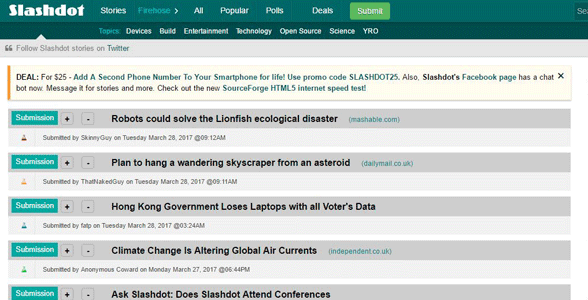 Screenshot of Slashdot's list of articles