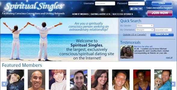 Screenshot of the Spiritual Singles homepage