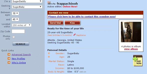 Screenshot of a SugarDaddyForMe profile