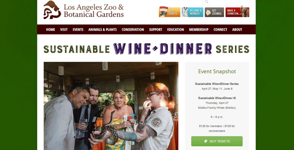 Screenshot of the Sustainable Wine and Dinner Series at the LA Zoo
