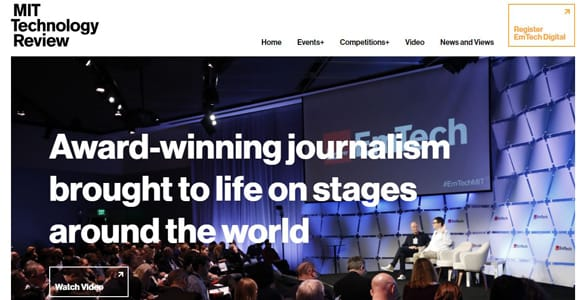 Screenshot of MIT Technology Review's events page