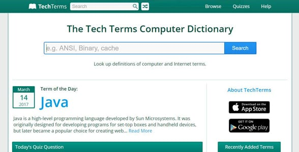 Screenshot of TechTerms' homepage