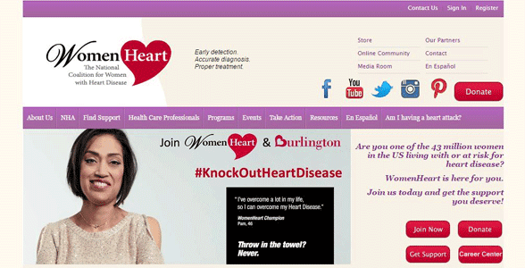 Screenshot of WomenHeart's homepage