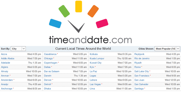 Photo of the Time and Date logo and screenshot of Time and Date's World Clock