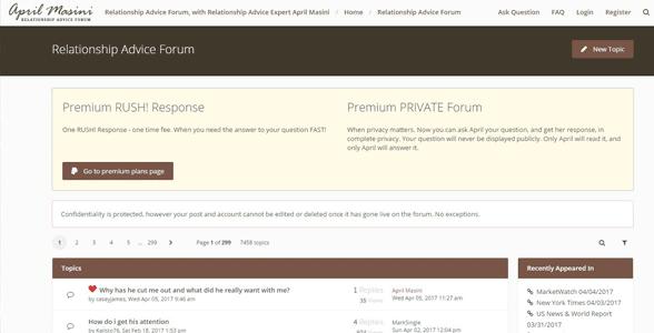 Screenshot of April Masini's advice forum