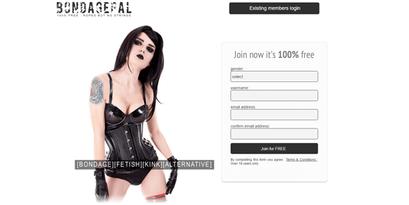 Screenshot of the Bondage Pal homepage