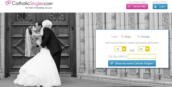 Screenshot of CatholicSingles.com's homepage