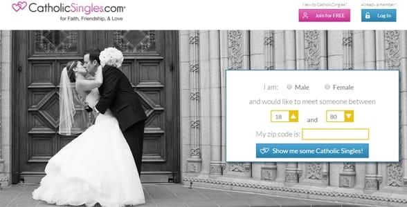 Screenshot of CatholicSingles.com's homepage