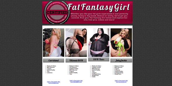 Screenshot of the Fat Fantasy Girl homepage