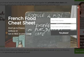 Screenshot of the French Food Cheat Sheet page