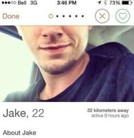Screenshot of Jake's Tinder dating profile