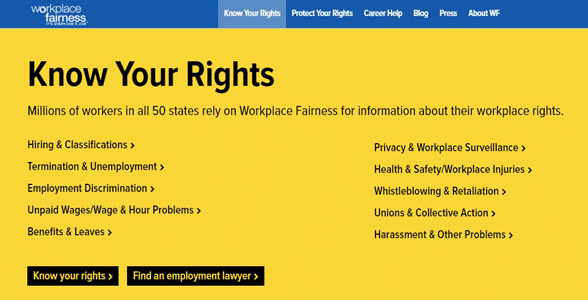 Screenshot of Workplace Fairness' Know Your Rights section