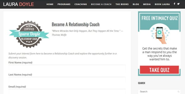 Screenshot of Laura Doyle's relationship coach training page