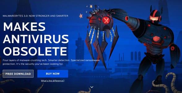 Screenshot of the Malwarebytes 3.0 webpage
