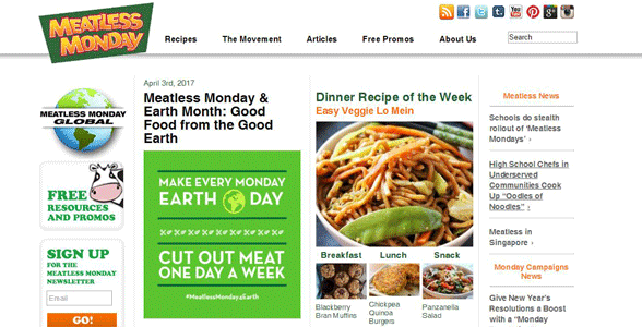 Screenshot of the Meatless Monday homepage
