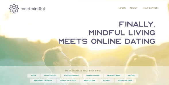 Photo of the MeetMindful homepage