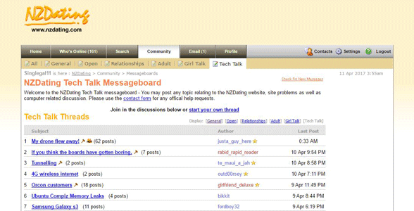 Screenshot of NZDating's message boards