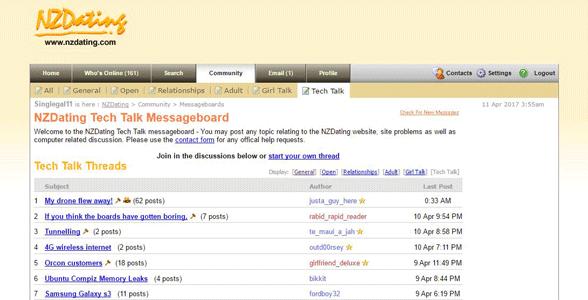 Screenshot of NZDating's message boards