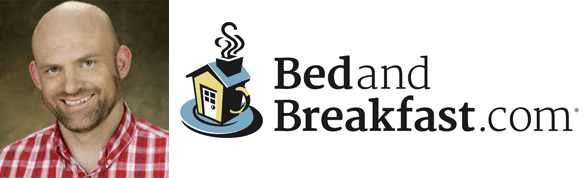 Photo collage of Ryan Hutchings' headshot and the BedandBreakfast.com logo
