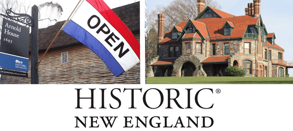 Collage of two historical properties and the Historic New England logo