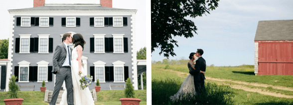 Collage of weddings at historic sites