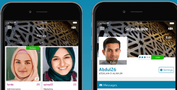 Screenshots of the Single Muslim mobile app