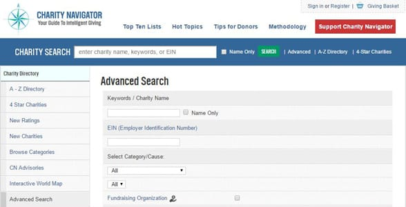 Screenshot of Charity Navigator's advanced search