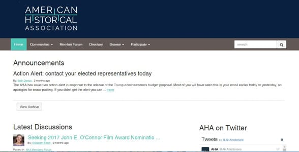 Screenshot of the AHA Members Forum