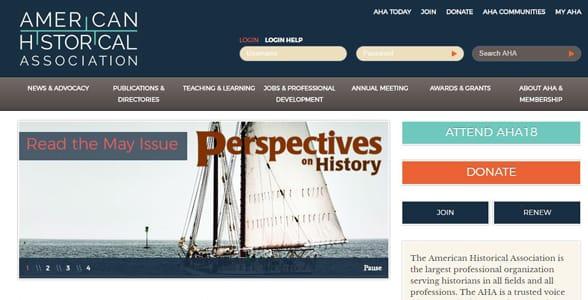 Screenshot of the AHA's homepage