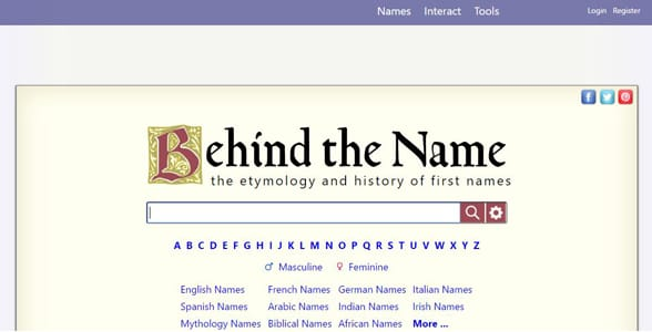 Screenshot of Behind the Name's homepage