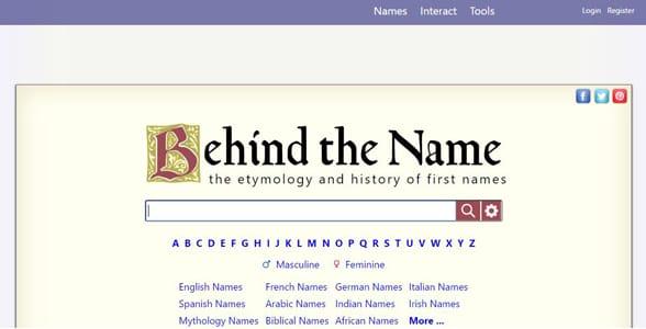 Screenshot of Behind the Name's homepage