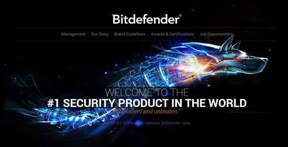 Screenshot of Bitdefender's homepage