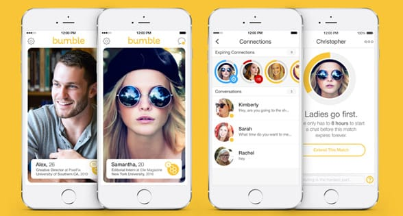 Photo of the Bumble app
