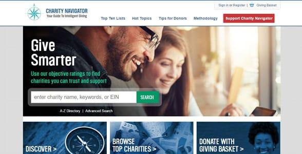 Screenshot of Charity Navigator's homepage