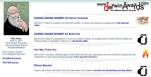 Screenshot of the Darwin Awards homepage