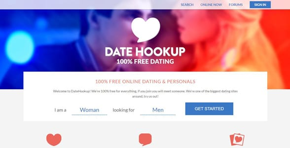 Screenshot of DateHookup's signup page