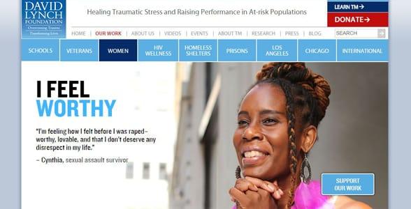 Screenshot of the David Lynch Foundation's women's page