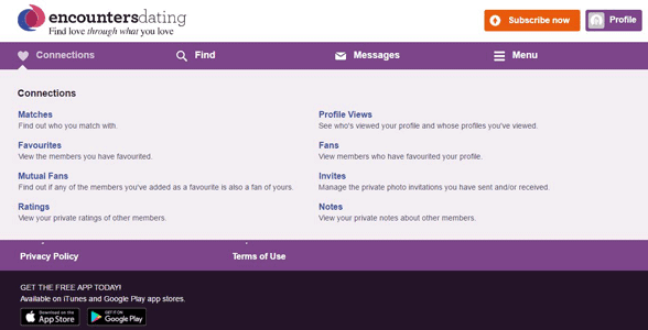 Screenshot of the Encounters Dating Connections page