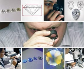 Photo of the IGI team analyzing diamonds