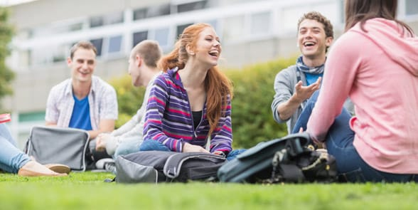 Photo of college students studying and hanging out