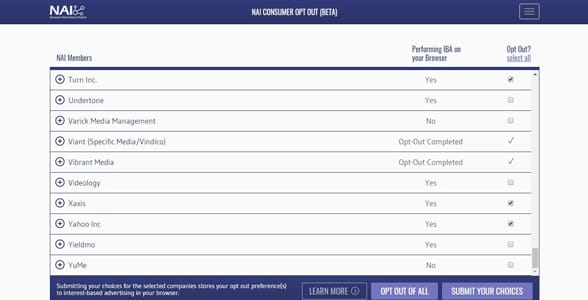 Screenshot of NAI's Consumer Opt-Out Tool