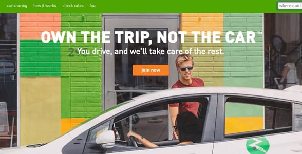 Screenshot of Zipcar's homepage
