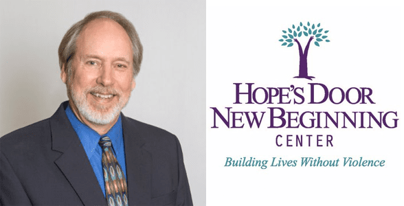 Jim Malatich's headshot and Hope's Door New Beginning Center logo