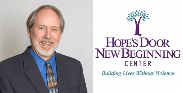 Jim Malatich's headshot and Hope's Door New Beginning Center logo