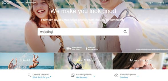 Screenshot of 500px's directory of photographers