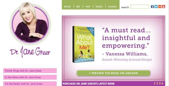 Screenshot of Dr. Jane Greer's website
