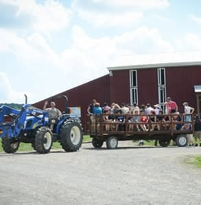 Photo of a hayride at Farm Sanctuary